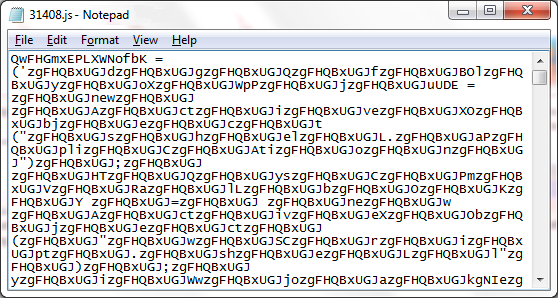 Fig 1. Obfuscated JavaScript File